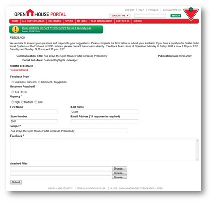 Enhanced communication between Home Office and Retail Stores through online Feedback Forms