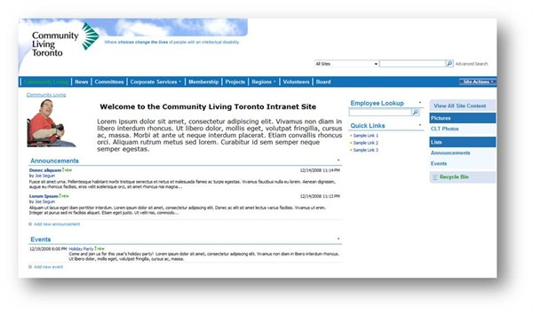 Home Page for the Community Living Toronto Intranet Site