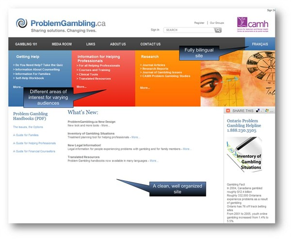 ProblemGambling.ca new home page