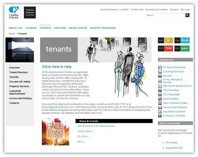 Existing tenants find all the information they need on services, amenities, news and events