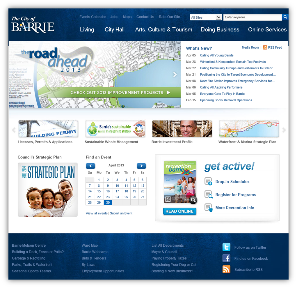 Home page for The City of Barrie Web Site