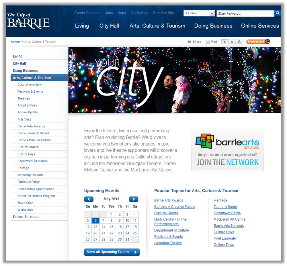 Standard page viewed on a full size screen