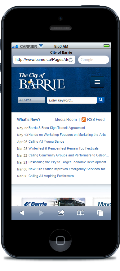 The City of Barrie site optimized for mobile devices