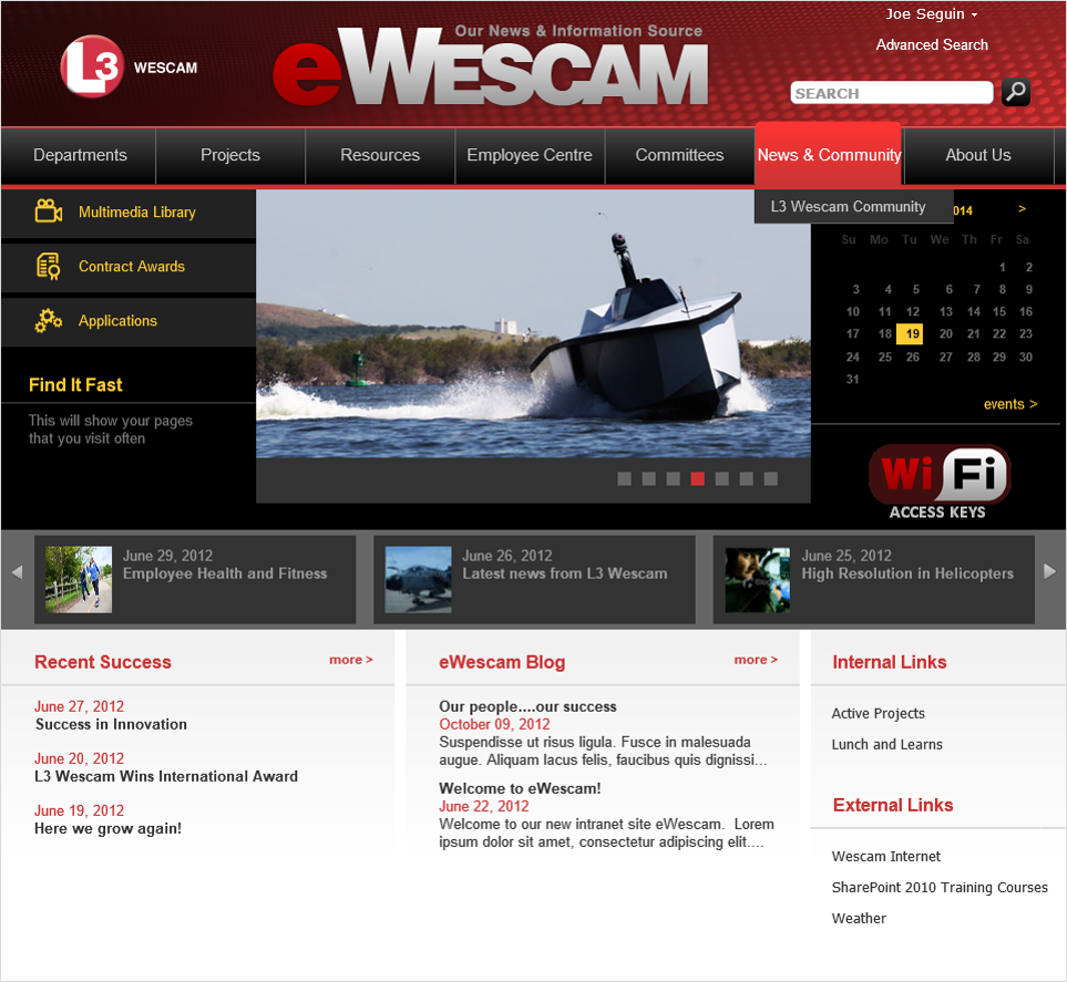 The new eWescam home page